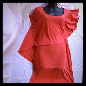 NWT Sexy Pink Cascade Drape Dress Sz 12